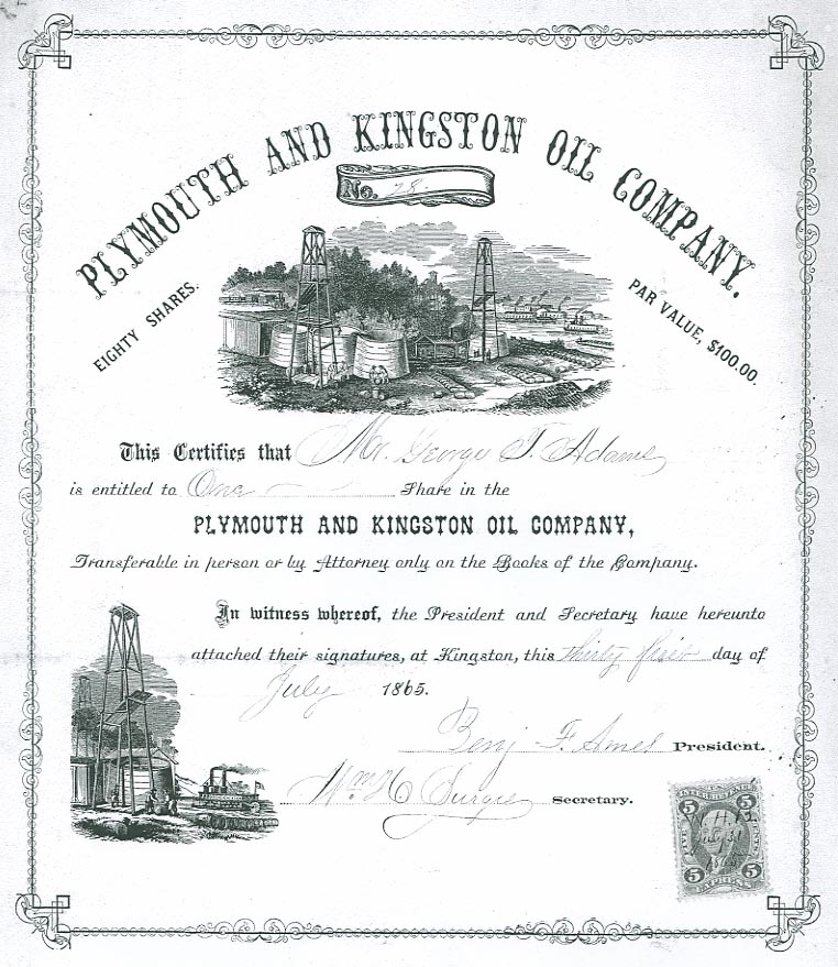 Plymouth and Kingston Oil Company stock certificate, 1865