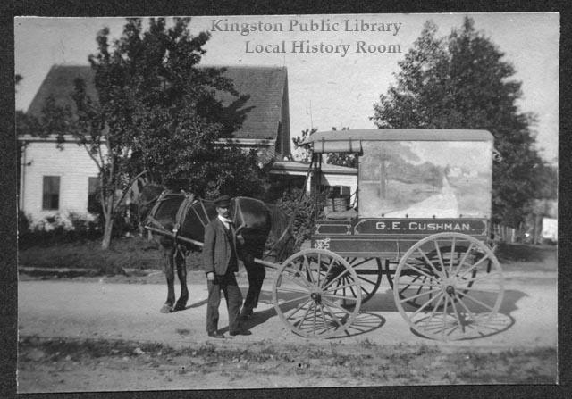 G.E. Cushman's delivery wagon, Old Dan the horse and Ed Sherman, circa 1900