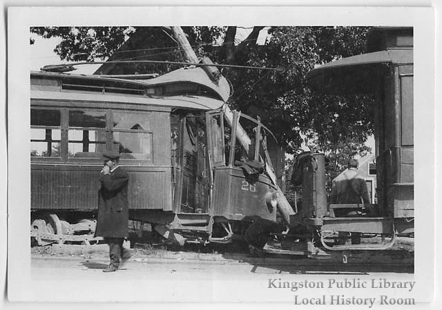 Conductor at trolley accident, 1910