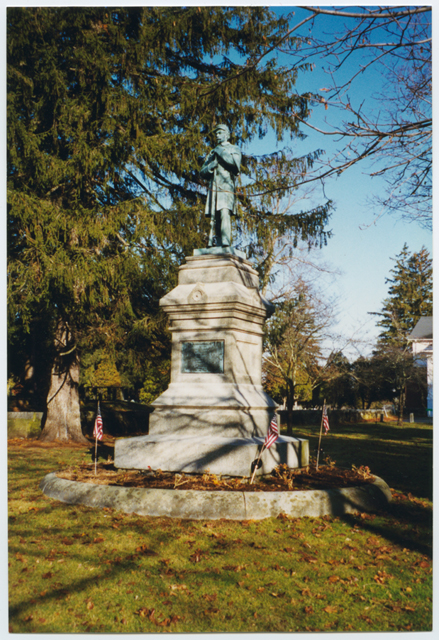 Civil War Soldiers Monument with flags, 2001