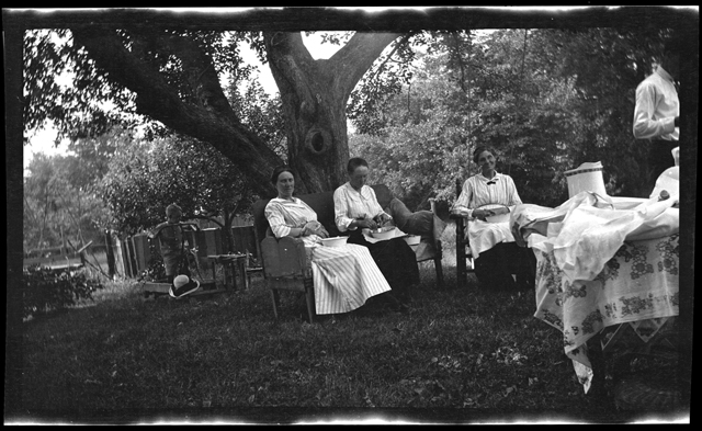 Jennie McLauthlen (at right) and friends, no date. Photograph by Emily Drew.