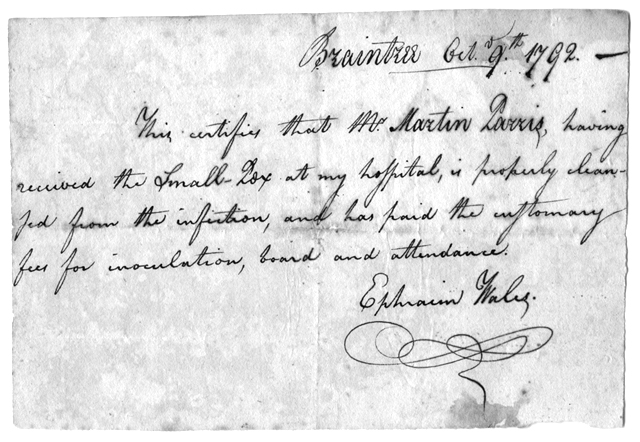 Certificate of 'inoculation' of Martin Parris by Ephraim Wales, 1792