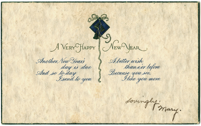 Happy New Year postcard, no date