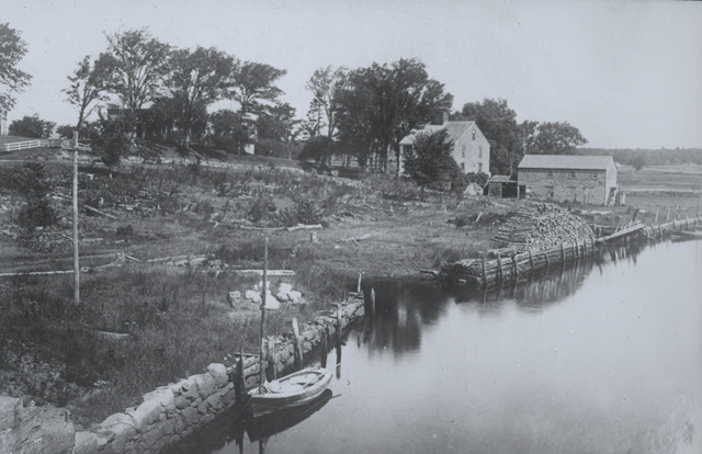 The Holmes shipyard at the Landing, about 1890