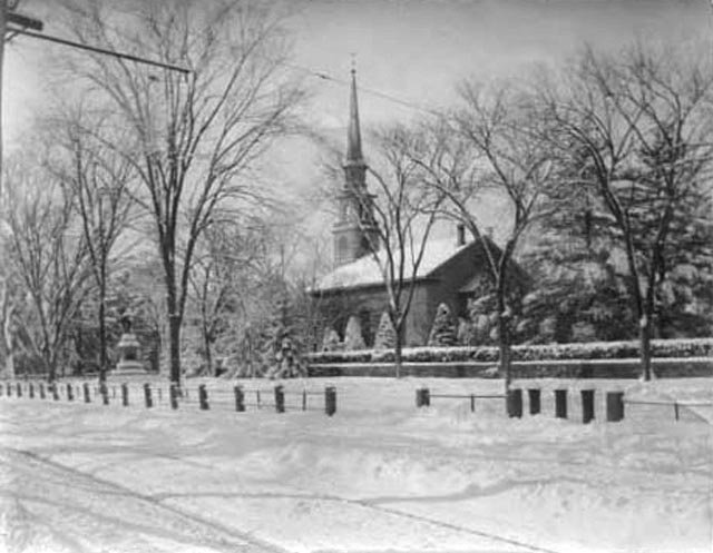 Training Green and First Parish Church in the snow, no date
