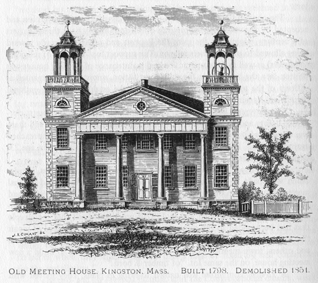 Old Meeting House, Kingston, Mass. Built 1798. Demolished 1851.