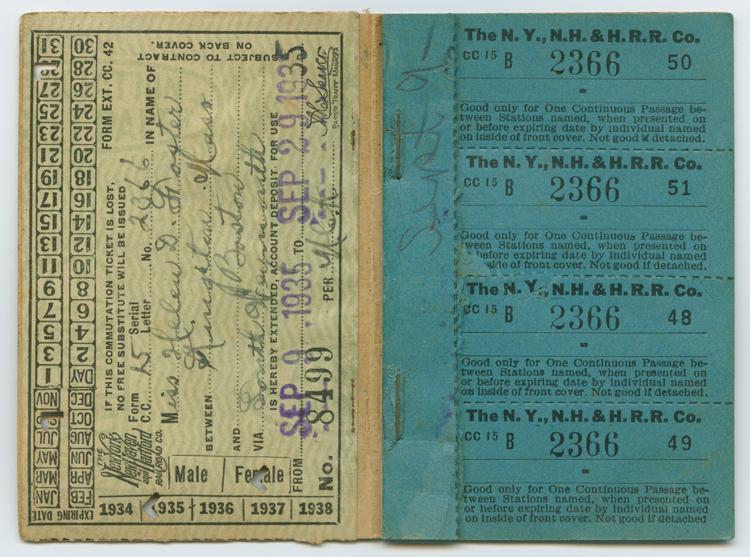 N.Y., N.H. & H. R.R. Co. Commuter ticket book, 1935