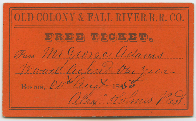 "Old Colony & Fall River Railroad ""Free Ticket"" 1855"