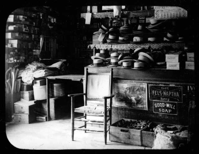 Hat shop in the Old Country Store, circa 1900