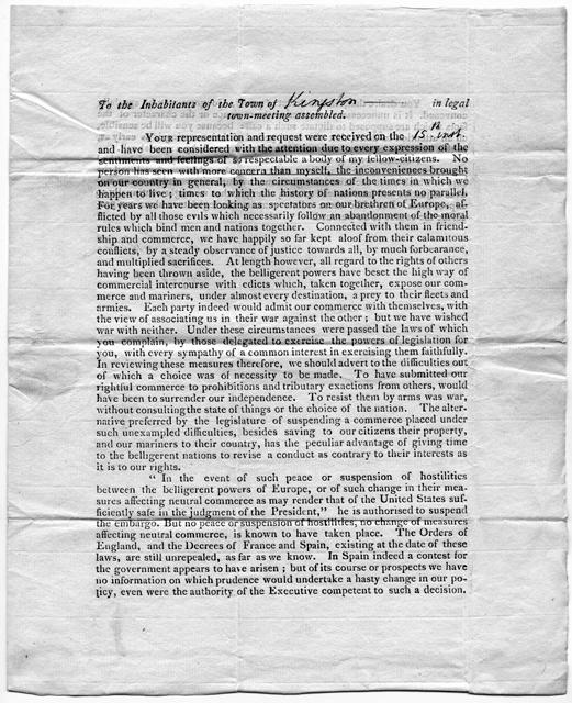 Jefferson letter, page 1, 1808