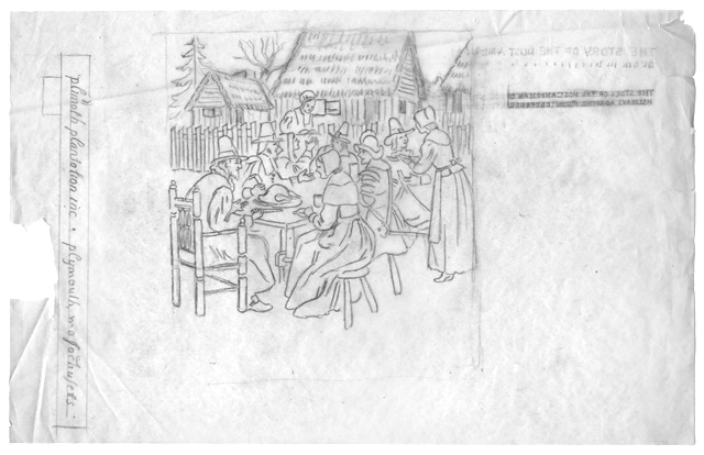 Sketch of Pigrim Thanksgiving for Plimouth Plantation, n.d.
