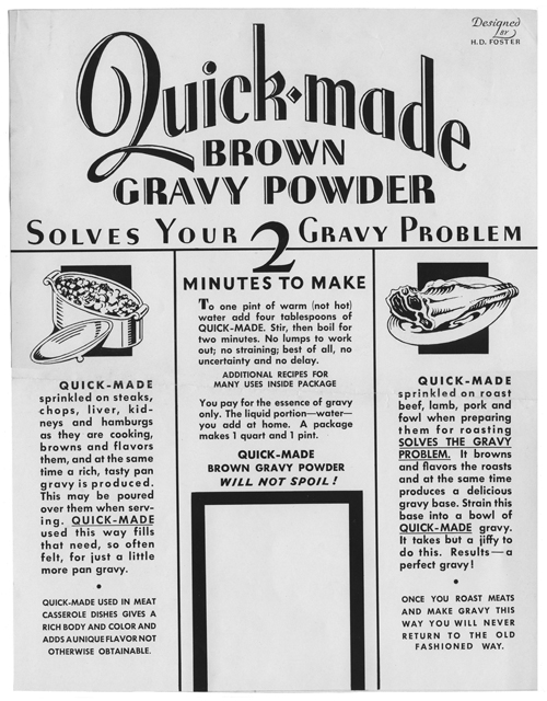 Ad for Quick-made Brown Gravy Powder, n.d.