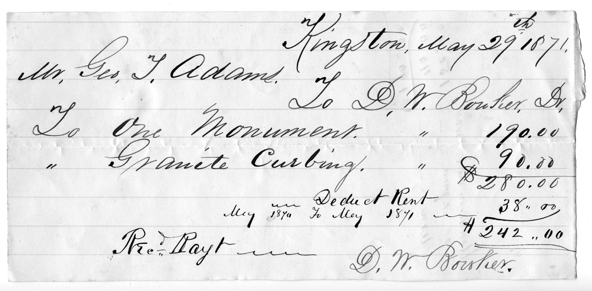 Receipt for monument and curbing, May 29, 1871