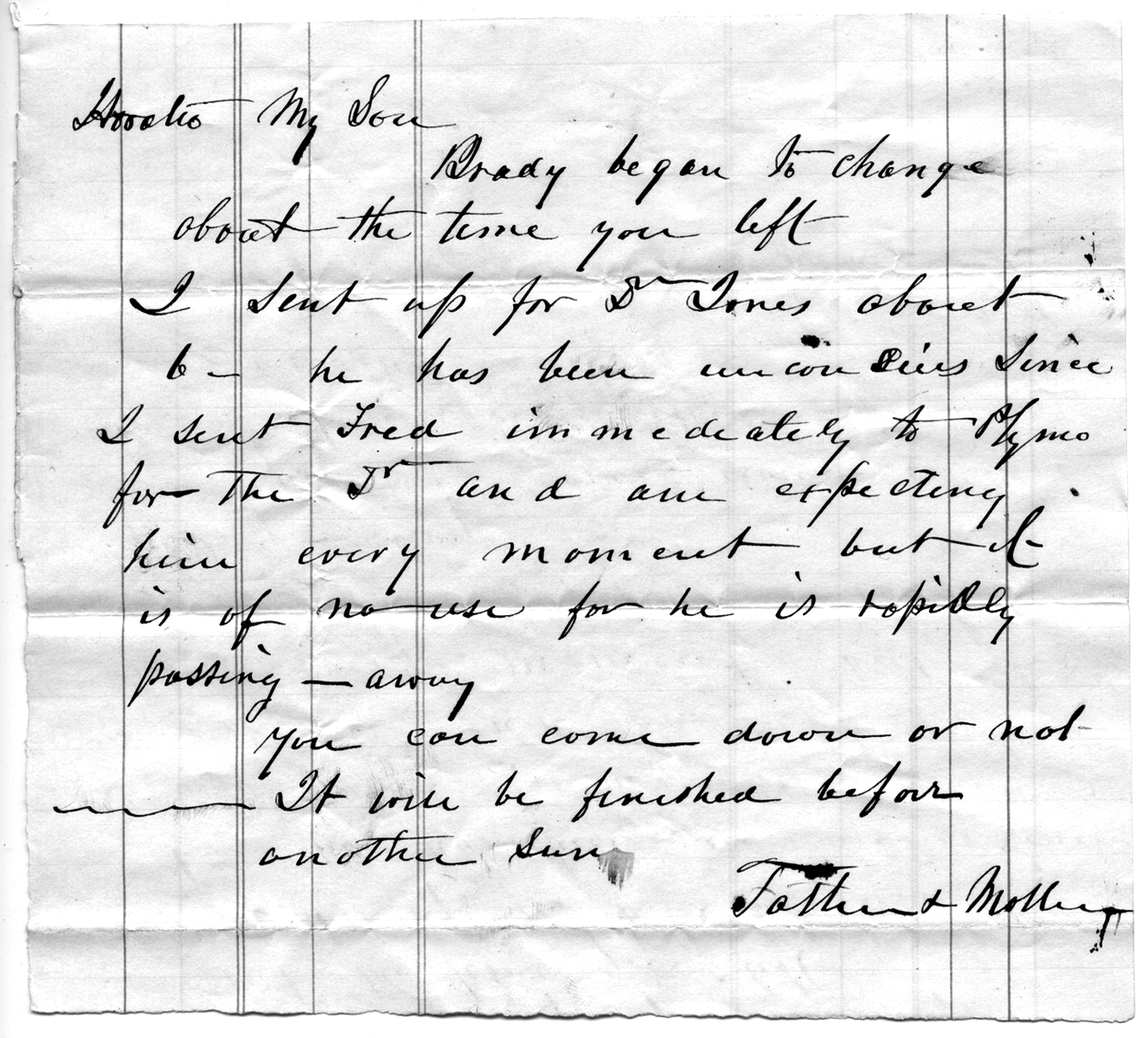 Note to Horatio from Father and Mother, October 1870 (date supplied)