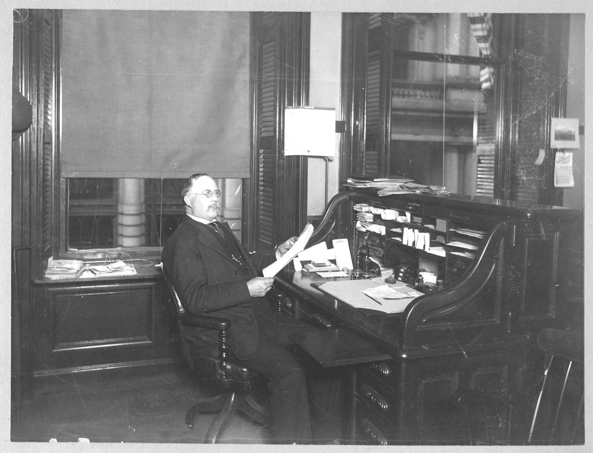 Horatio Adams in his Boston office, no date