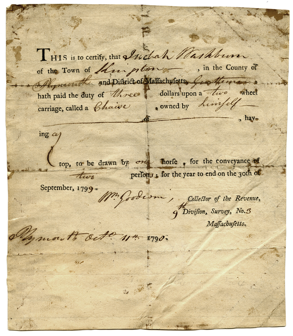 Tax bill for Judah Washburn's two-person, one-horse chaise with a top,  1799
