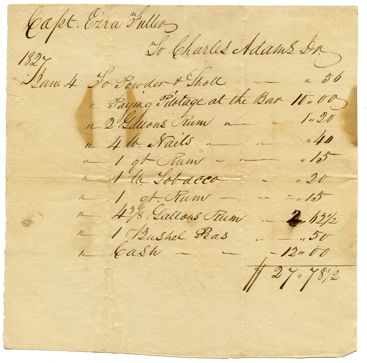 Capt. Ezra Fuller to Charles Adams, Jan. 4, 1827