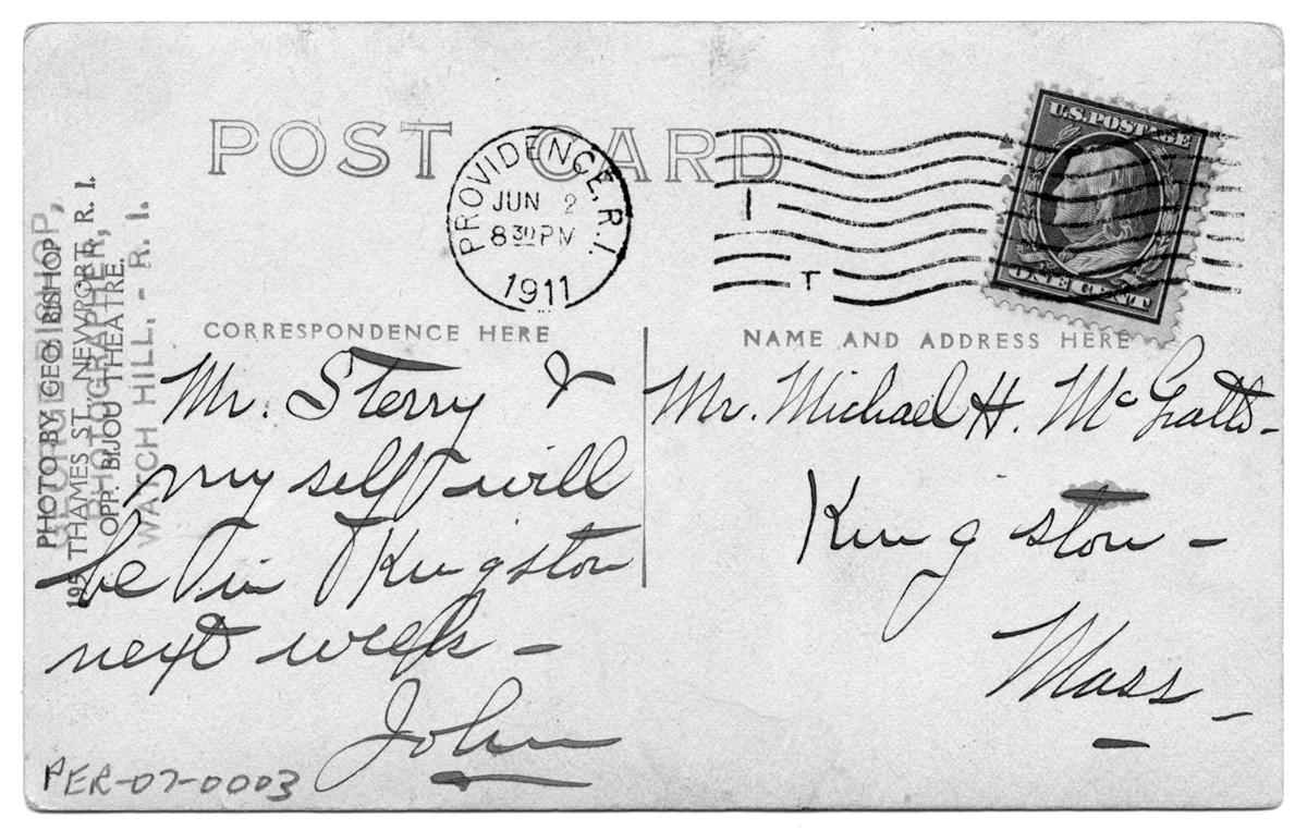 """Mr. Sterry & myself will be in Kingston nex week,"" 1911"