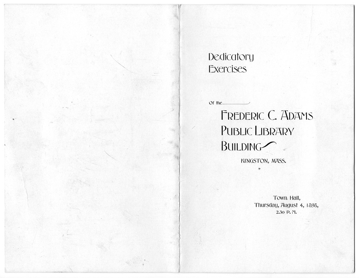 """Dedicatory Exercises"" program, 1898"