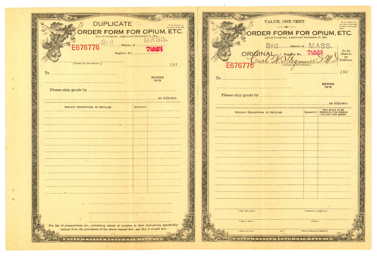 Order form for opium, etc. circa 1910