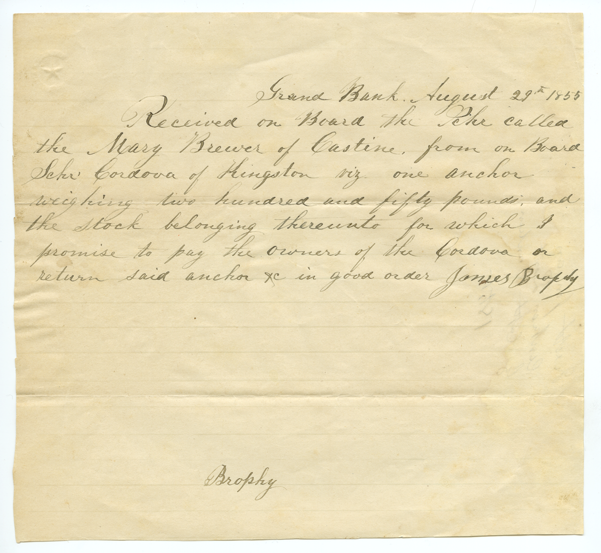 Receipt for an anchor, 1855