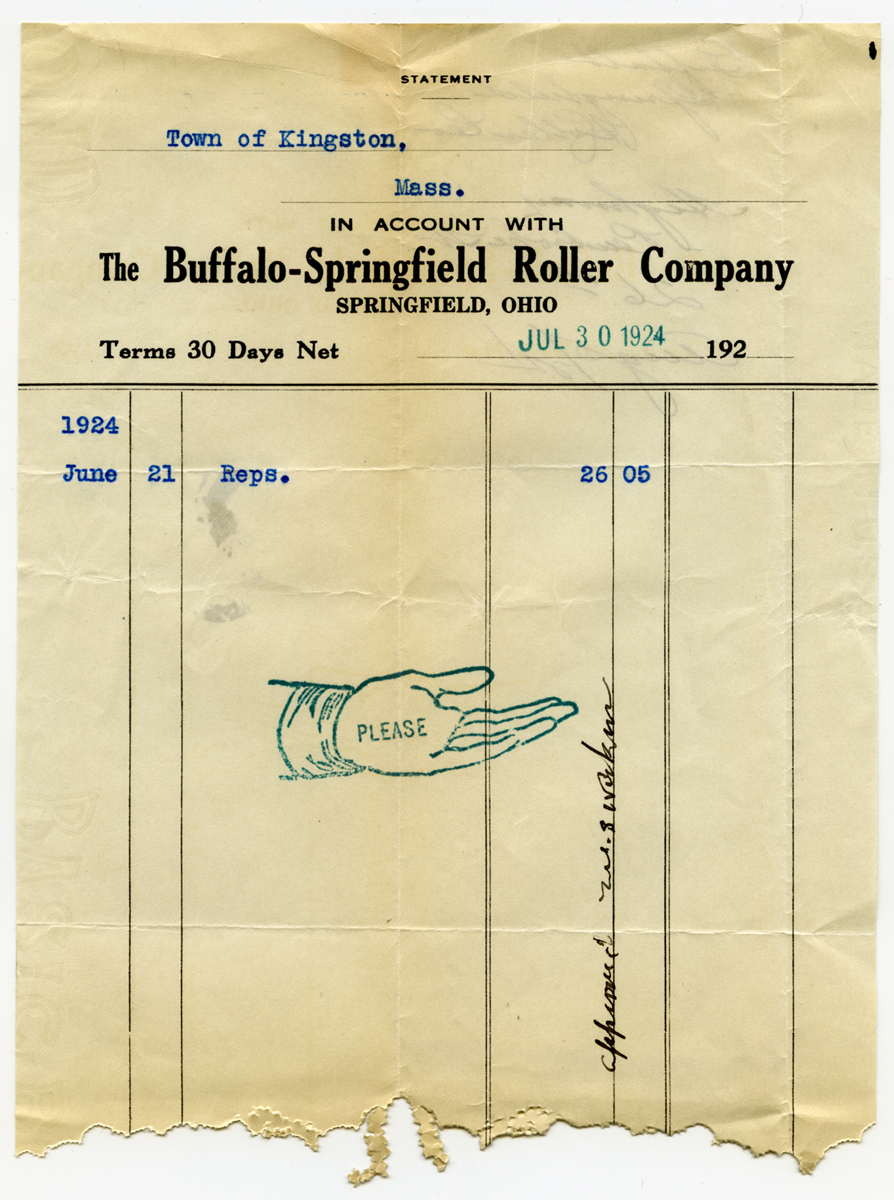 Buffalo-Springfield Company bill to Kingston Highway Department, 1924