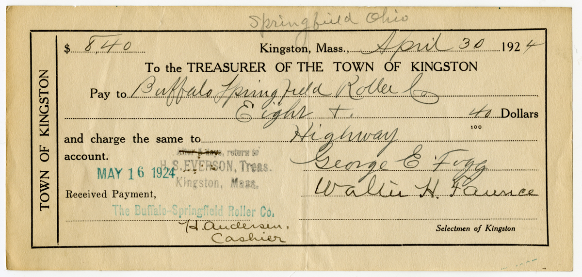 Payment receipt to Buffalo-Springfield Roller Company for Kingston Highway Department, 1924