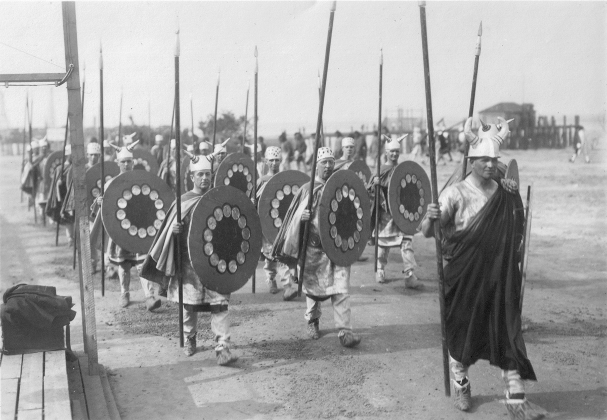 March of all explorers who came before the Pilgrims in 1620, Plymouth Tercentenary Pageant, 1920