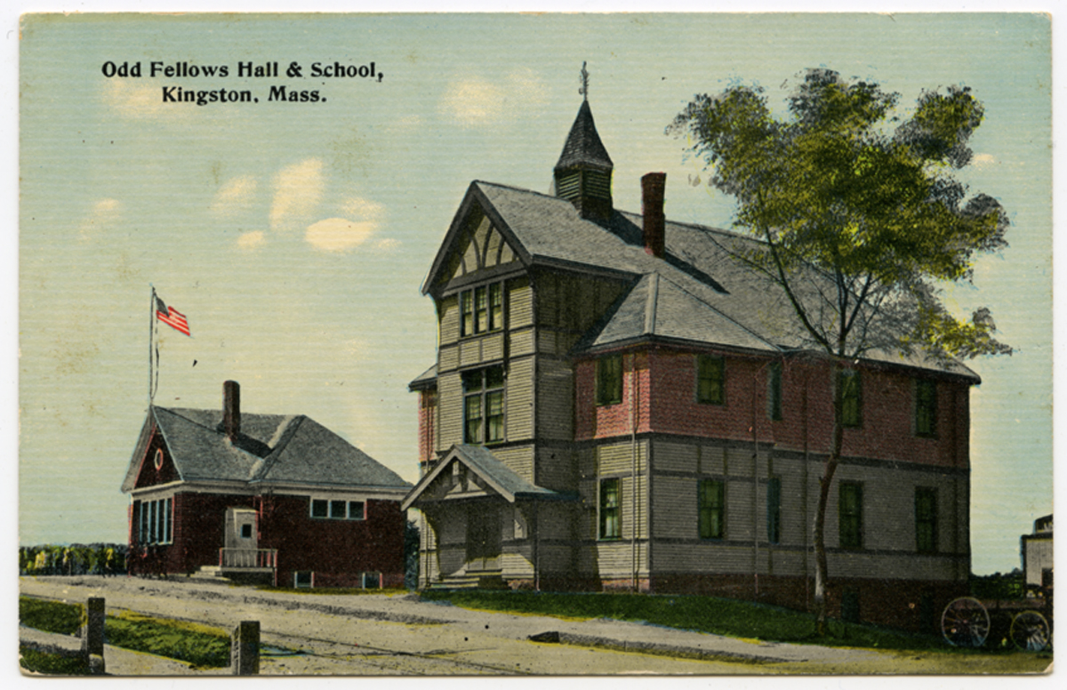 Odd Fellows Hall & School, Kingston, Mass., circa 1900.