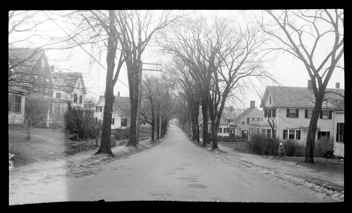 Summer Street looking south before the widening, 1927. By Emily Fuller Drew.