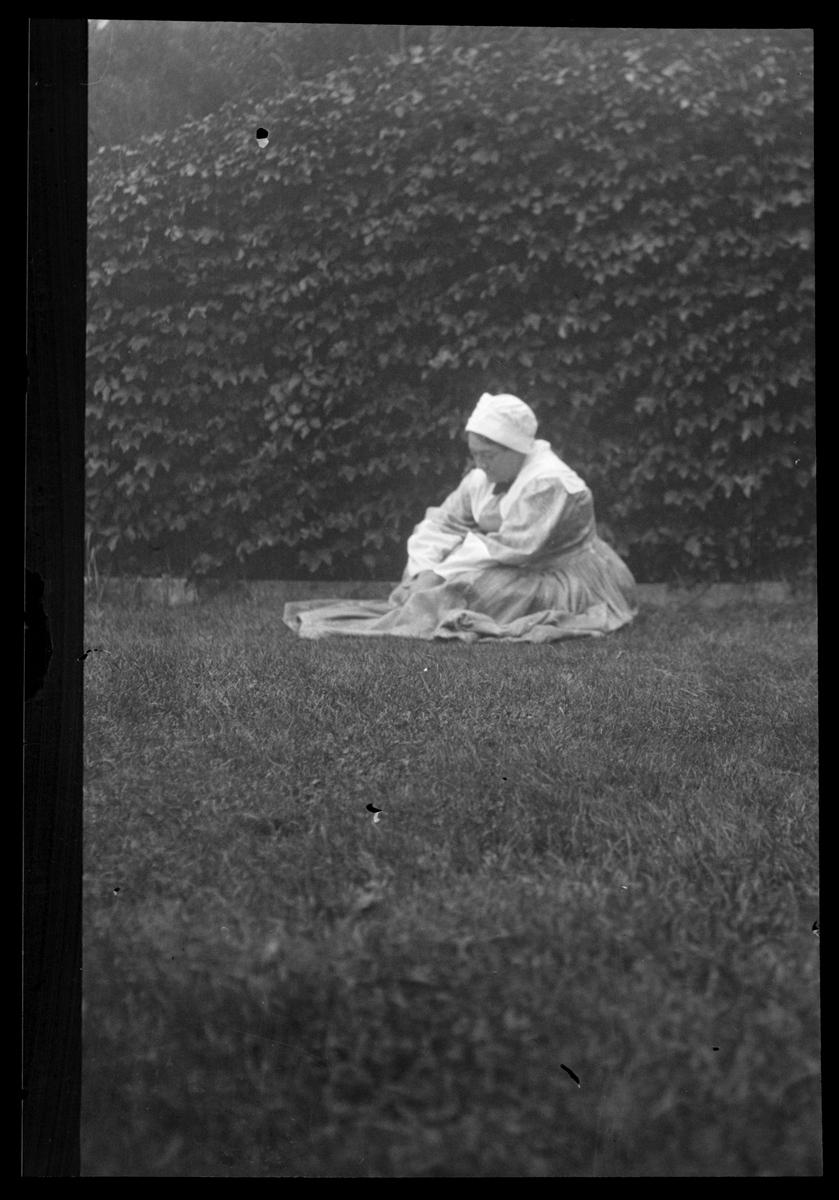 Emily Fuller Drews models a Pilgrim costume, circa 1920