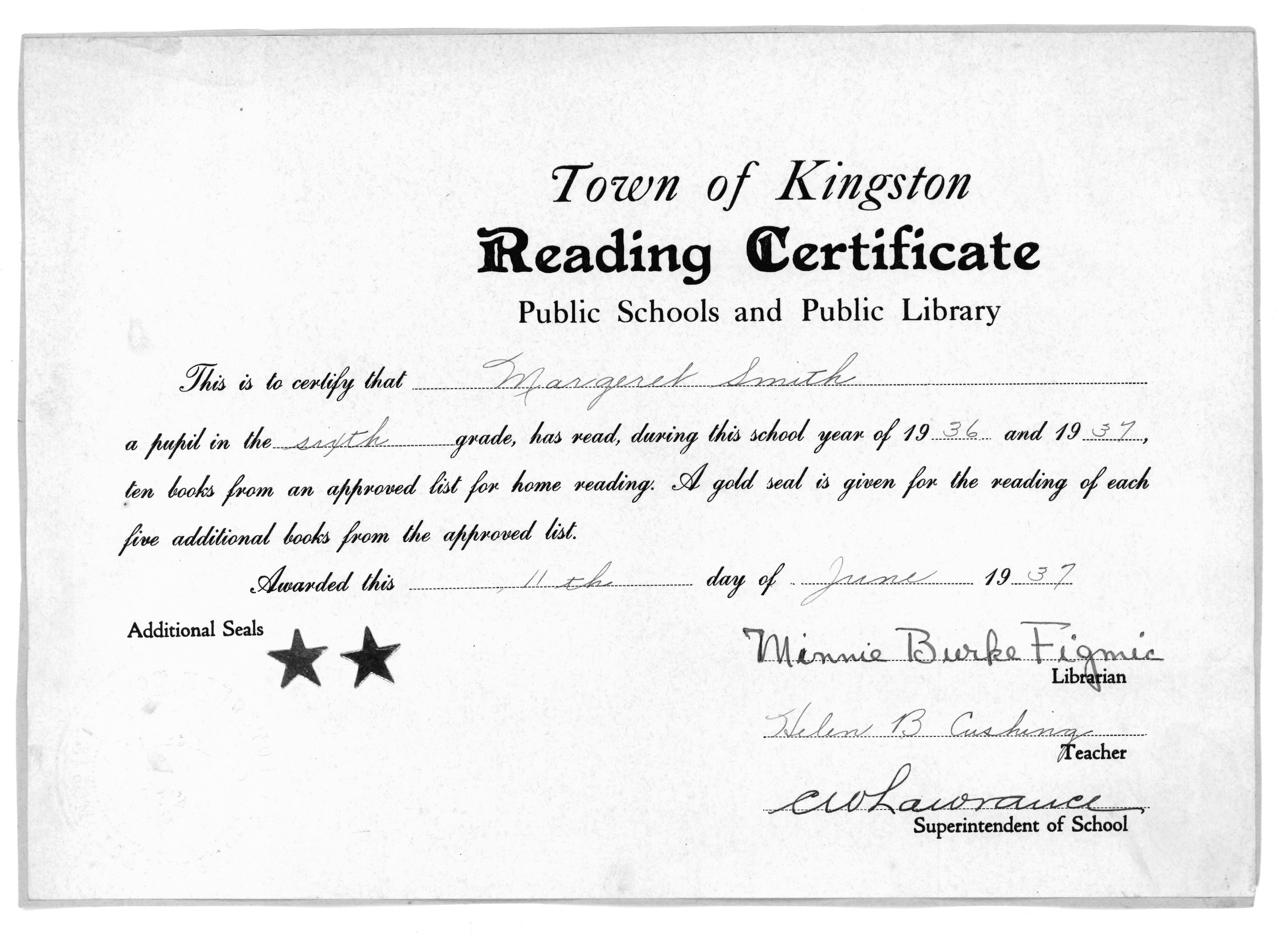 Town of Kingston Reading Certificate, 1937