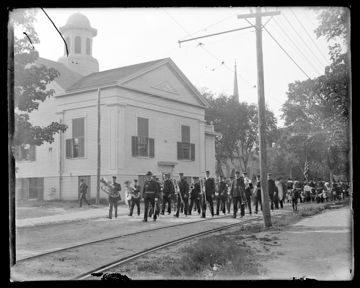 Band marching on Green Street, Kingston, 1903