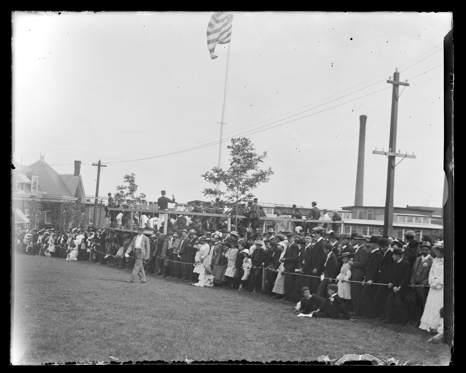Spectators and a band, near the Cordage, 1903