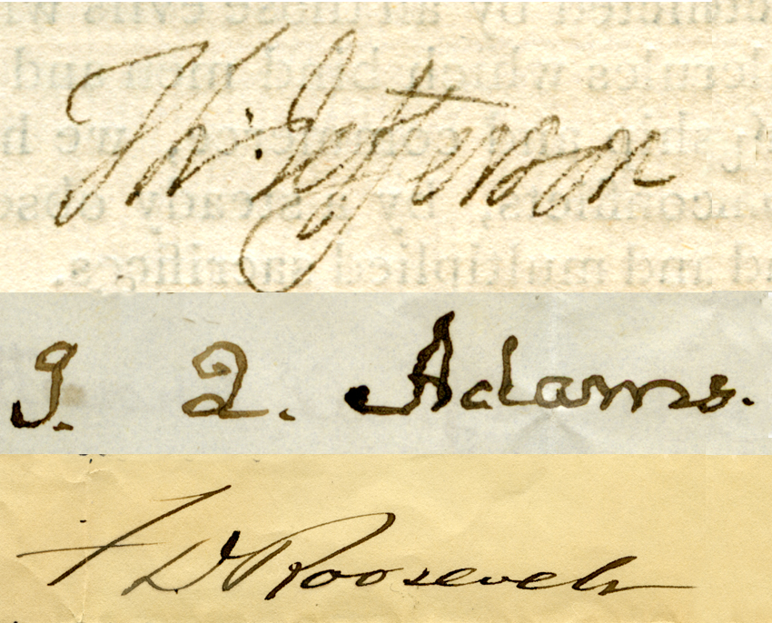 Signatures from out Presidential letters