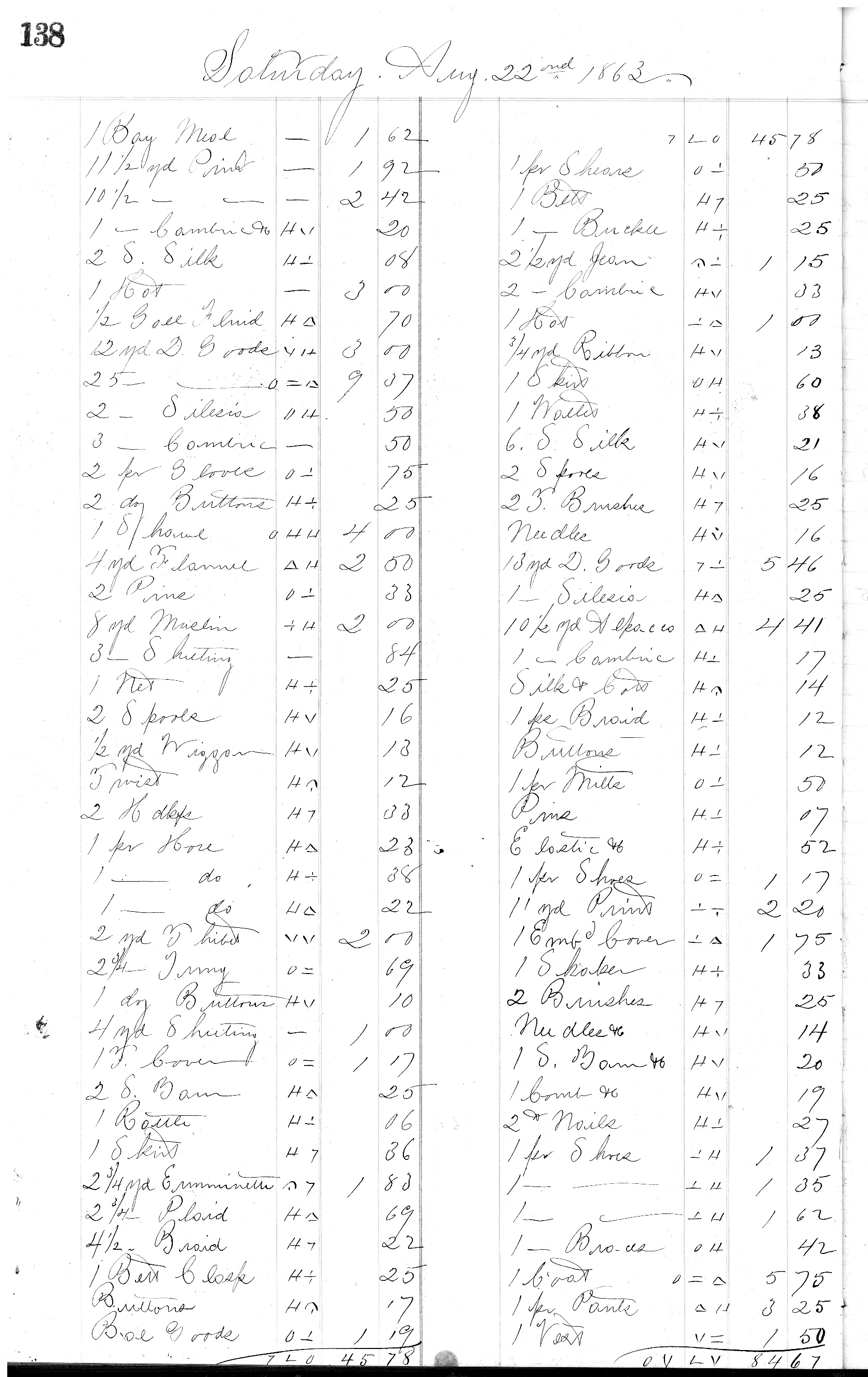 Page 138 from H.K. Keith's 1863 register of daily sales