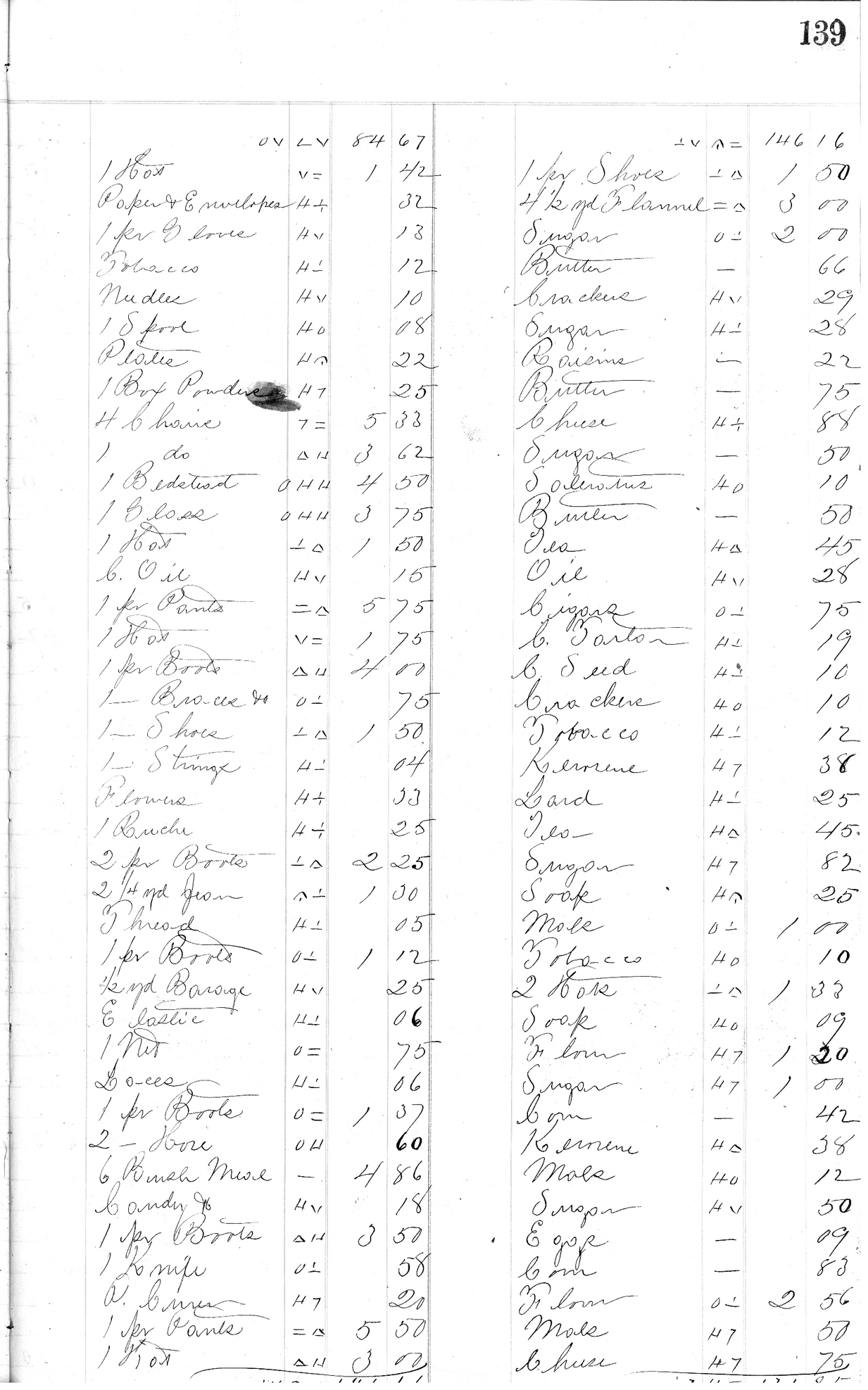 Page 139 from H.K. Keith's 1863 register of daily sales