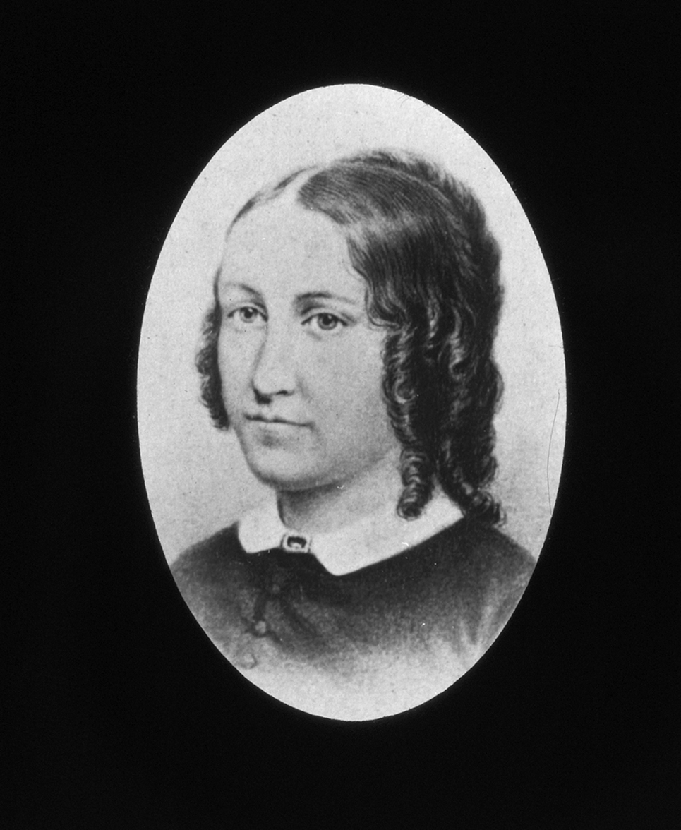 Lucy A. Meacham Pope, head and shoulders portrait, circa 1845