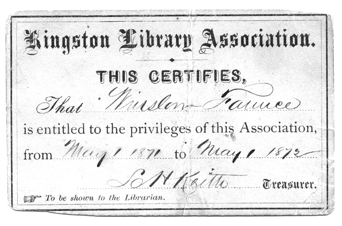 Kingston Library Association card, 1872