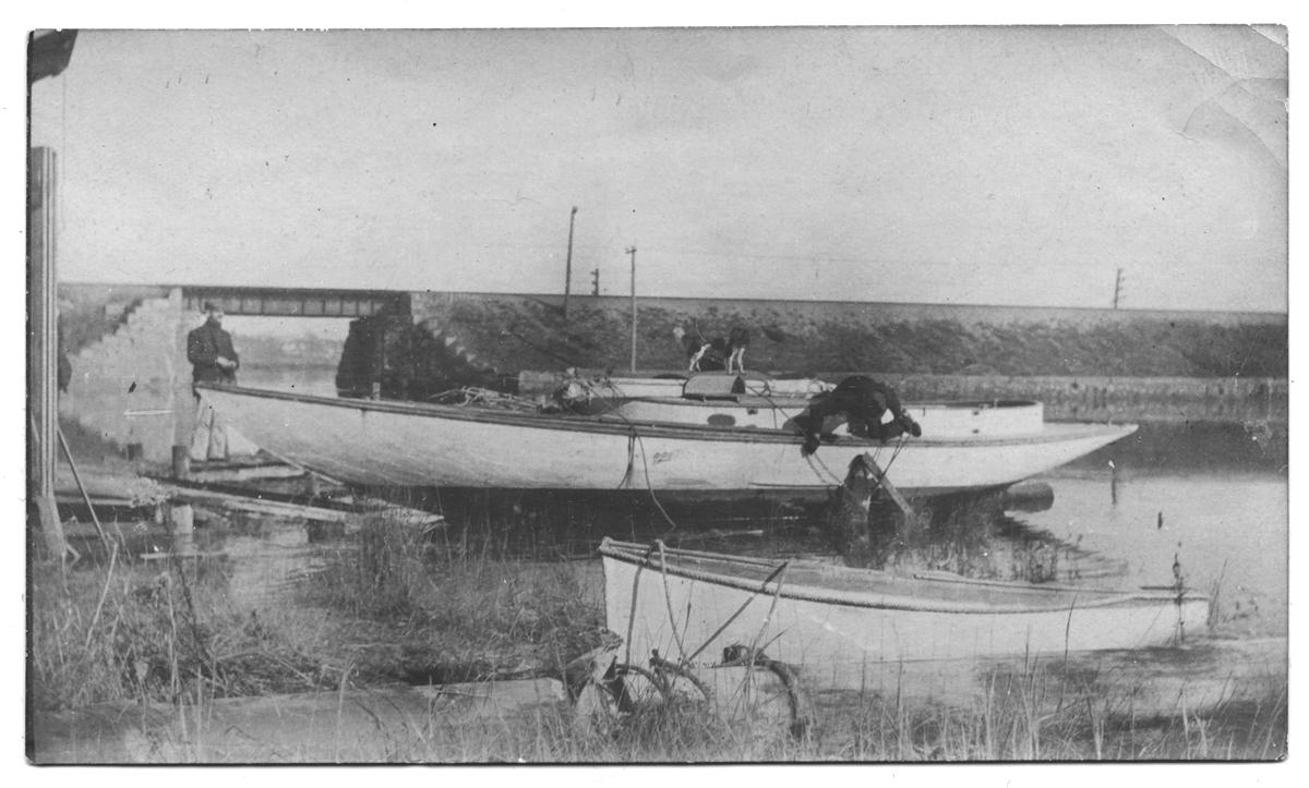 Boat yard near the railroad bridge, circa 1915