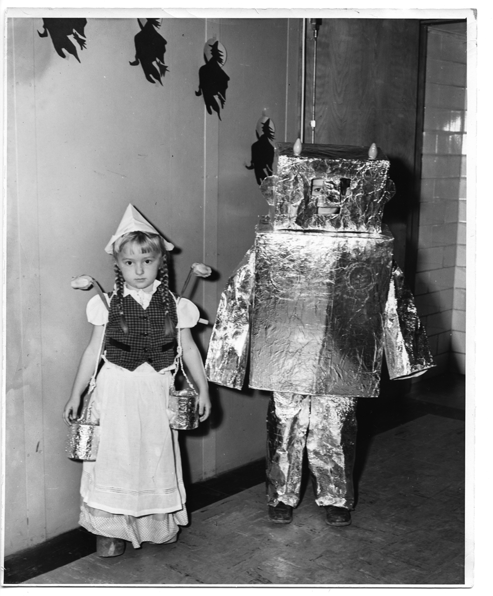 Milkmaid and robot Halloween costumes at Kingston Elementary School, 1952
