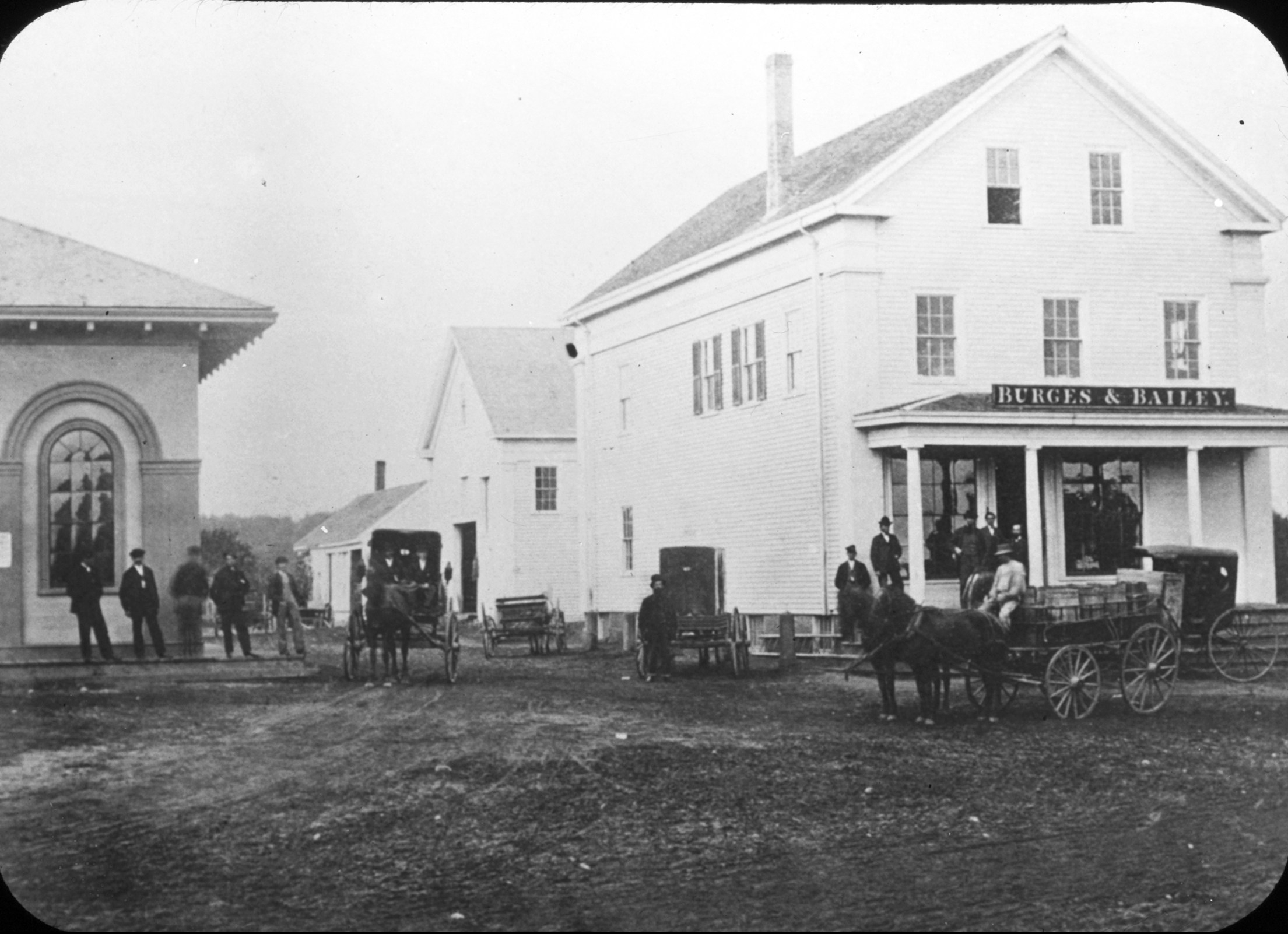 Old Railroad Station and Burges and Bailey Store, 1868